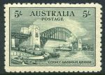 1932 5/- Green Sydney Harbour Bridge MLH with a few bluntish perfs.