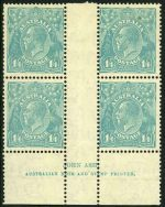 1932 1/4 Blue C of A Wmk KGV imprint block of 4 MUH. Top units with minor faults. ACSC 131z.
