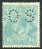 1927 1/4 Blue Small Multiple Wmk perf 14 KGV perforated OS CTO with gum and centered to left.