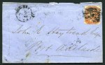 2d Orange-Red Queen Victoria, tied to April 1874 cover with smudged No 137 Diamond Numeral cancellation and proving Hog Bay Broken Ring CDS postmark addressed to Port Adelaide. Rated R. Cape Jervis, Talisker 20.5mm, Normanville, GPO Adelaide and Port Adelaide backstamps indicating an interesting routing.