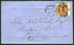 2d Orange-Red Queen Victoria, tied to April 1874 cover with double struck No 307 Diamond Numeral cancellation and proving Kingscote Broken Ring CDS postmark addressed to Port Adelaide. A common cancellation when reallocated to Adelaide, but quite scarce used at Kingscote. Cygnet Bay, Hog Bay, Cape Jervis, Second Valley, GPO Adelaide and Port Adelaide backstamps. Back flap missing.