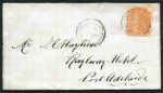 1875 cover franked with 2d Orange-Red Queen Victoria tied by Greens Plains East full ring CDS, as well as an additional strike, addressed to Port Adelaide. GPO Adelaide and Port Adelaide full ring backstamps. The first Greens Plains East postmark that we have handled and the earliest known date for this Post Office.