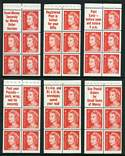 1966 4¢ Red QEII booklet pane set of 6 slogans MUH.