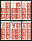 1967 5¢ on 4¢ Red QEII booklet pane set of six slogans MUH. (10 sets).