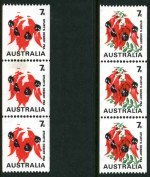 1971 7¢ Sturt's Desert Pea coil strip of 3 with Green and Buff colours omitted MUH. Light transparent mark on centre unit. ACSC 535cg.