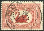 1929 1½d WA Centenary perforated OS with Re-entry to swan's neck and