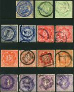 Collection of 135 Railway Stamps comprising 1891-1929 1d, 3d Blue (2), 3d Green (2), 4d (5), 5d (2), 6d (6), 9d, 1/- (4), 2/-, 3/- (4) and 5/- First Series, 1929-48 1d, 3d (3), 4d (5), 5d, 6d (3), 9d (2), 1/- (3), 2/- (2), 3/-, 5/- (2) and 10/- Second Series and 1966-74 2¢, 5¢ (2), 6¢, 8¢ (2), 10¢ (11), 20¢ (6), 30¢ (2), 40¢ (7), 50¢, 60¢ (7), 70¢, 80¢ (5), 90¢, $1.00 (19), $2.00(10), $3.00 (3) and $4.00 (2) Third Series. Noted 1928-48 4d Green (2, one damaged) and 5/- Pale Orange pair [Inverell] affixed to the reverse of a