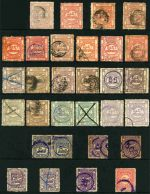 Collection of 120 Railway Stamps comprising 1896 1d (10), 3d (8), 6d (2) and 1/- (2, one with black quarter ring cancel) Watermark Crown/Q, 1901 1d (2), 3d (5) and 1/- No Watermark, 1902 1d (2), 3d, 6d (2) and 2/6 Watermark Crown/Q, 1903 1d (6, plus unlisted copy on Blue paper), 3d (7), 6d (5), 1/- (4) and 2/6 (2) Watermark Antique Locomotive, 1919-22 1d Perf 11 and 5d and 1/- Roulette Train at Top QR Watermark with Station Name in Red, 1927 1d (4, one with 'Finney's' private user's name), 3d (4), 5d (2), 6d (4), 10d (2), 1/- and 2/6 (2) Value in Words at Top QR Watermark, 1963 1/- (3), 2/6 and 10/- QR Watermark with short stroke in value, 1966 3¢ (2), 6¢ (2), 10¢, 20¢, 50¢ and $1.00 (2) QR Watermark and 1976 20¢ (2), 50¢ (6), $1.00, $2.00 (7) and $10.00 (5) Mono-colour with Blue Security Underprint. Usual variable condition. Elsmore online catalogue $900.00.