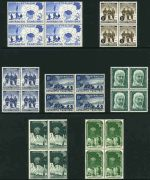 Selection of 220 MUH and MLH stamps from 1935 to 1968 including AAT 1957-61 Pre-Decimal set of 7 in MUH blocks of 4, Cocos (Keeling) Island 1963 Definitive set MUH (5), Norfolk Island 1953 Definitive set MUH (2, plus additional set MLH), Nauru 1935 Silver Jubilee set MUH, Papua New Guinea 1952 10/- Map and £1 Fisherman O/P Specimen MUH, 1963 10/- Rabaul with 13½mm and 15½mm Specimen O/P MUH and 1963 £1 QEII with 15½mm Speciman O/P MUH (2). Odd minor fault.
