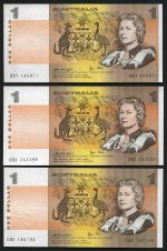 1976 $1.00 Knight/Wheeler Centre Thread (12) and 1979 $1.00 Knight/Stone (10) Unc. McDonald 106 and 109. Catalogue Value $680.00.