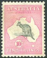 1913 10/- Grey and Pink 1st Wmk Kangaroo MVLH and well centered.