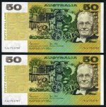 1976 $50.00 Knight/Wheeler side thread EF (8) and 1983 $50.00 Johnston/Stone EF (2) Paper banknotes, mostly with consecutive numbers. McDonald 203 and 205. Catalogue Value $1,850.00.