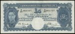 1949 £5 Coombs/Watt KGVI Banknote EF. Serial No S20 805105. McDonald 69. Catalogue Value $1,350.00.