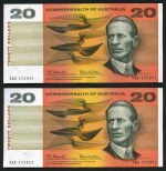 1966 $20.00 Coombs/Wilson consecutive pair and consecutive run of 9 banknotes EF. McDonald 181.