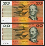 1967 $20.00 Coombs/Randall banknote F (4, including consecutive pair). No tears or pinholes. McDonald 182.