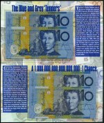 2002 The Blue and Grey 'Tenners' Four Note ANDA Folder containing 1993 $10.00 Fraser/Evans Serial No's JA and JB 93772580 and 1998 $10.00 Macfarlane/Evans Serial No's AA and AB 98772580. Edition No 80/2000. McDonald AN-2. Catalogue Value $245.00.