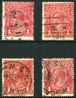 1918 1d Red Die I and II Smooth and Rough Paper