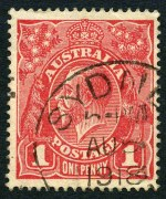 1918 1d Carmine-Red Die I Smooth Paper
