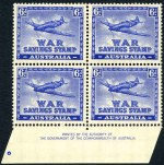 1940 6d Blue Plane War Savings stamp perf 14½ x 14 Authority imprint block of 4, lightly hinged on top units and lower units MUH.