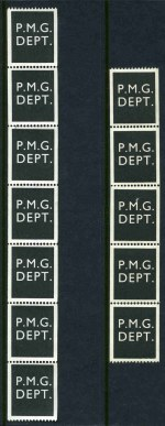 1966 P.M.G. DEPT. Jet Black Test coil in singles, pairs and strips including part roll of 164 MUH. ACSC Catalogue Value $1,960.00