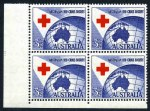 1954 3½d Red Cross lower left full Plate No 3 without dashes corner block of 4 MUH and centered to base. ACSC 312zj.