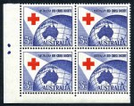1954 3½d Red Cross lower left full two dots Plate dot corner block of 4 MUH and reasonably centered. ACSC 312zp.