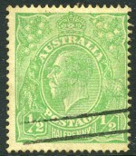 1915 ½d Green Single Wmk KGV with Clubbed fraction bar at left variety FU and centered to right. ACSC 63(3)j. Catalogue Value $1,250.00.