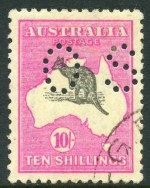 1917 10/- Grey and Deep Aniline Pink 3rd Wmk Kangaroo perforated OS, CTO with gum (lightly hinged) and well centered, with kangaroo misplaced upwards 1.5mm. Superb.
