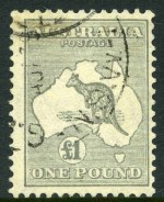 1935 £1 Grey C of A Wmk Kangaroo FU and centered to right.