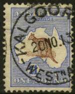1916 £1 Chocolate and Dull Blue 3rd Wmk Kangaroo GU with repaired top right corner perf, faint diagonal crease and tiny thin. Presentable copy.