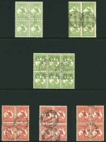 Selection of 57 postally used Kangaroo issues in blocks, mainly blocks of 4 or 6 including 1913 ½d Green (3), 1d Red (10, inc Die IIA block of 9 with vertical scratch through last
