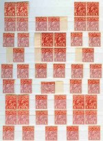 Selection of 312 mint KGV issues including 1913 1d Pale Red Engraved (16) and 1d Red Engraved (32), 1914-24 ½d Green (2), ½d Orange (17, 6 with Inverted Wmk), 1d Red (10), 1d Red Die III (2), 1d Violet (3), 1½d Black-Brown (2), 1½d Brown (4), 1½d Green (9), 1½d Red (18, inc Mullett imprint pair), 2d Orange (4), 2d Brown (2), 2d Red (3), 3d Blue, 4d Orange (2), 4d Lemon, 4d Violet (3), 4d Olive (3), 4½d Violet (2) and 5d Chestnut (3) Single Wmk, 1924 1d Green (8) and 1½d Red (5) No Wmk, 1918-24 ½d Green (2), 1d Red and 1d Green (3) Large Mult Wmk, 1926-27 ½d Orange (5), 1d Green (4), 1½d Red (2), 2d Brown (2), 3d Blue (2) and 4½d Violet (2) Small Mult Wmk perf 14, 1927-30 ½d Orange (20, inc imprint block of 4), 1d Green (4, inc Die I and II pair MUH), 1½d Red (7), 1½d Brown, 2d Red (6), 2d Brown (5), 3d Blue Die II (5), 4d Olive, 4½d Violet, 5d Chestnut, Surcharge set (15) and O/P OS set (2) Small Mult Wmk perf 13½ and 1931-33 ½d Orange (4), 1d Green (2), 1½d Brown (5), 2d Red (12), 5d Brown (2, one O/P OS) and 1/4 Blue C of A Wmk. Few faults, but generally fine condition including many MUH and several varieties. High retail value.