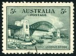 1932 5/- Green Sydney Harbour Bridge CTO without gum and well centered.