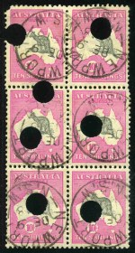 1917 10/- Grey and Pink 3rd Wmk Kangaroo block of 6 with telegraph punctures fine used, cancelled with neat C.D.S cancellations of Newport NSW. Top left unit with missing corner and lower units lightly creased. Attractive and rare multiple.
