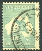 1920 1/- Green Die IIB 3rd Wmk Kangaroo with Sideways Wmk GU with part Sydney CDS cancellation, centered to left, as is typical. Lightly creased in lower corners. Rare as genuine postally used. A similar example in fine condition realised $1,210.00 including buyers premium in our auction 133 in 2006. ACSC 33aa.