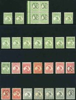 Selection of 129 mint Kangaroo issues comprising 1913 ½d (16), 1d (8), 2d (5), 2½d (2), 3d (3), 4d (4, one perf small OS), 5d (2) and 6d (2) 1st Wmk, 1915-23 2d (2), 2½d (2), 3d (8), 6d Blue (3), 6d Brown (8, inc Mullett imprint pair), 9d (8, inc block of 4 with Broken shading lines below