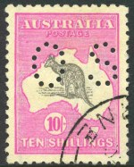 1917 10/- Grey and Deep Aniline Pink 3rd Wmk Kangaroo perforated OS, CTO without gum and well centered. Superb.