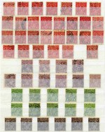 Accumulation of 610 used KGV issues perforated OS including shade variations and some varieties in Lighthouse stockbook. Noted 2d Brown (12), 4d Orange and Orange Yellow (57), 4d Violet (13), 4d Blue (17), 4½d Violet (20) and 1/4 Blue (20) Single Wmk, 1d Red (2) and 1d Green (7) Large Mult Wmk, 1d Green (10) and 1½d Red (2) No Wmk, 2d Brown (5), 3d Blue (7, 2 with Inverted Wmk), 4d Olive (12), 4½d Violet (5) and 1/4 Blue Small Mult Wmk perf 14 and 1½d Brown (13), 2d Brown (5), 3d Blue Die I (12), 4½d Violet and 1/4 Blue (6) Small Mult Wmk perf 13½. Good quality accumulation with usual variable condition, but well worth inspection. Huge retail value.