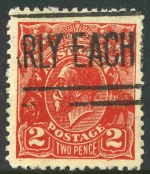 1932 2d Scarlet KGV Postal Forgery fine used. Identified as position No 2 on the printing block with White flaw (instead of shading) to immediate right of kangaroo's tail and traces of extra line outside left frame. Scarce.