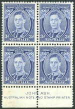 1938 3d Blue Die II Thick and Thin Paper KGVI well centered imprint blocks of 4, lightly hinged on top units and lower units MUH.