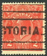 1922 2d Red Single Wmk KGV with Cracked electro through left wattles variety GU. ACSC 96(8)fa.