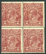 1924 2d Red-Brown Single Wmk KGV block of 4 MLH and centered to left. Lower left unit with Right frame largely missing - with additional vertical crack and lower right unit with Retouched S.W. corner - State II, right frame missing opposite emu varieties. Spectacular variety and grossly under catalogued. ACSC 97(16)ha and ia.
