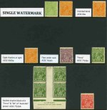 Selection of 69 mint KGV issues in singles, pairs and blocks, comprising various watermarks and several varieties including Single Wmk 1924 1d Green Mullett imprint block of 4 with