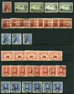 Accumulation of hundreds of used Pre-Decimal stamps from 1914 to 1965 including better items with variable duplication in Hagner binder. Noted 1914 6d Claret Kooka (CTO), 1931 6d Brown Airmail imprint strip of 3 FU, 1935 1/- Anzac (3), 1935 2/- Silver Jubilee (3), 1938 10/- (7) and £1 (3) Thick Paper Robes, 1950 £2 Arms (4) and 1964 £1 (6) and £2 (3) Navigators. Usual variable condition.