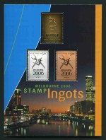 2006 Commonwealth Games limited edition Stamp Ingot set of 3, comprising Gold plated 99.9% pure Silver ingot weighing 17.9 grams, 99.9% pure Silver ingot weighing 17.9 grams and a Bronze Ingot weighing 16.6 grams. No 1624 of a limited edition of 2,500. Cost Price $99.95.