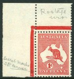 1932-35 C of A Wmk Kangaroo set O/P Specimen Type D MLH, plus 1913 1d Red Die 1st Wmk Kangaroo MUH top left corner copy with