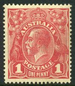 1918 1d Carmine-Pink Smooth Paper Single Wmk KGV MVLH, with Thin