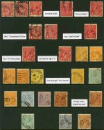 Selection of 25 used KGV issues, comprising mainly Single Wmk with values to 1/4, including several varieties and some perforated OS. Noted 1d Red Die II Substituted Cliche (2), 4d Orange Line through