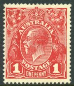 1915 1d Scarlet-Red Die II Smooth Paper Single Wmk KGV MVLH and reasonably centered. ACSC 71(1)f.