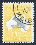 1929 5/- Grey and Yellow Small Multiple Wmk Kangaroo with GPO Melbourne CTO cancellation, unhinged with gum and reasonably centered.